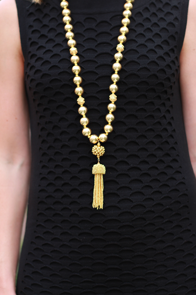 Gold Tassel Necklace, Little Black Dress, Girls Night Out