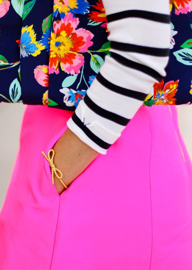 Stripes & Florals, Bright Pink Skirt