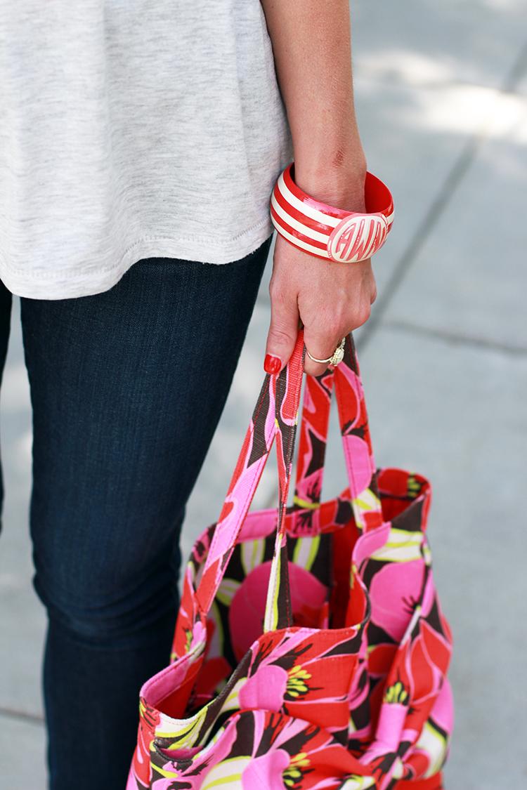 Monogrammed Bracelet, Floral Bag