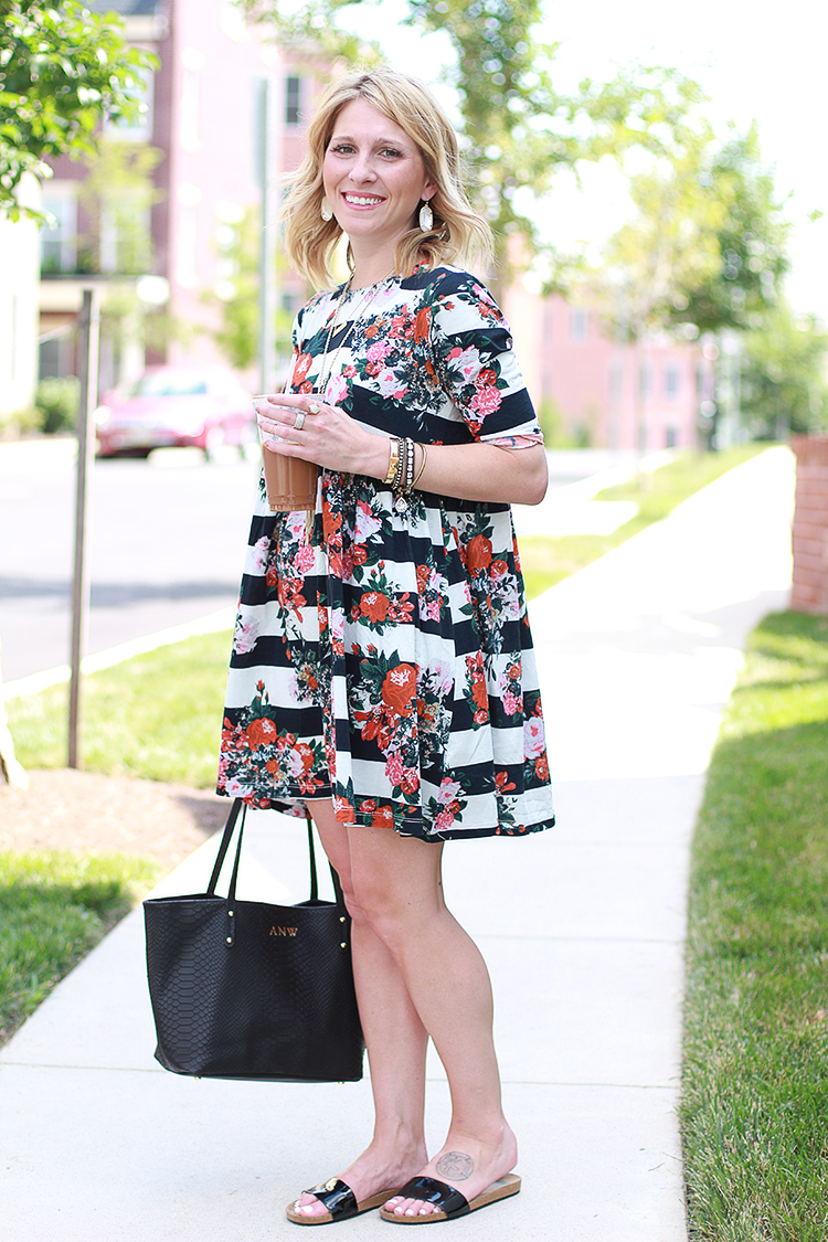 Smock Dress, ASOS Dress, Floral + Stripes