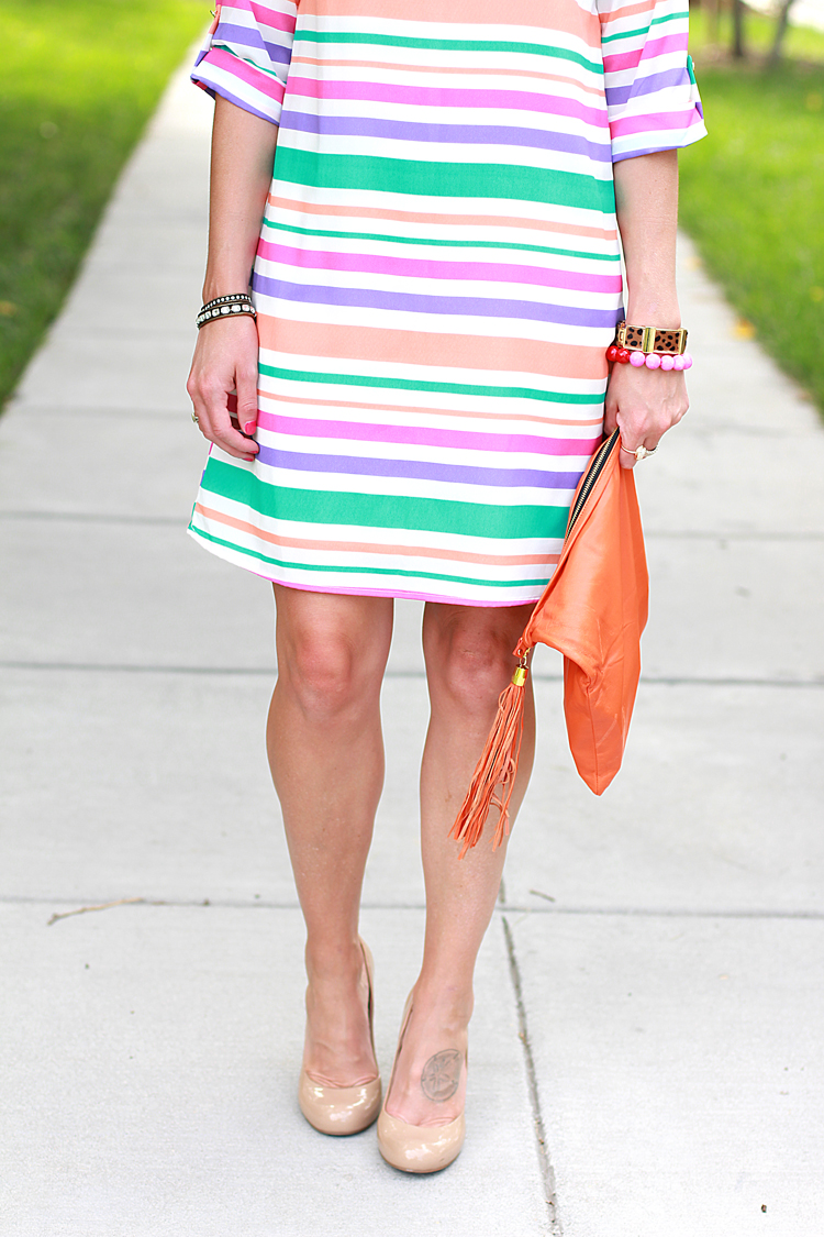 Nude Heels, Striped Shift Dress