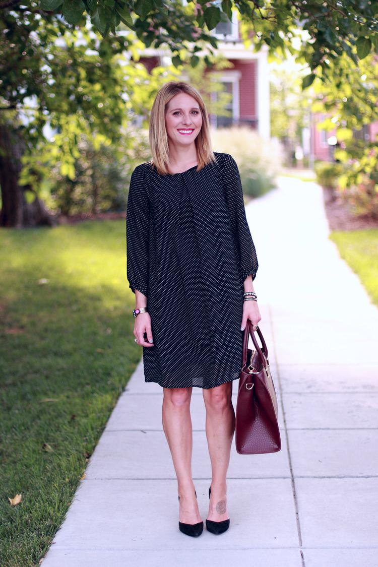 Polka Dot Shift Dress, H&M Shift Dress, Burgundy Bag, Fall Outfit Idea