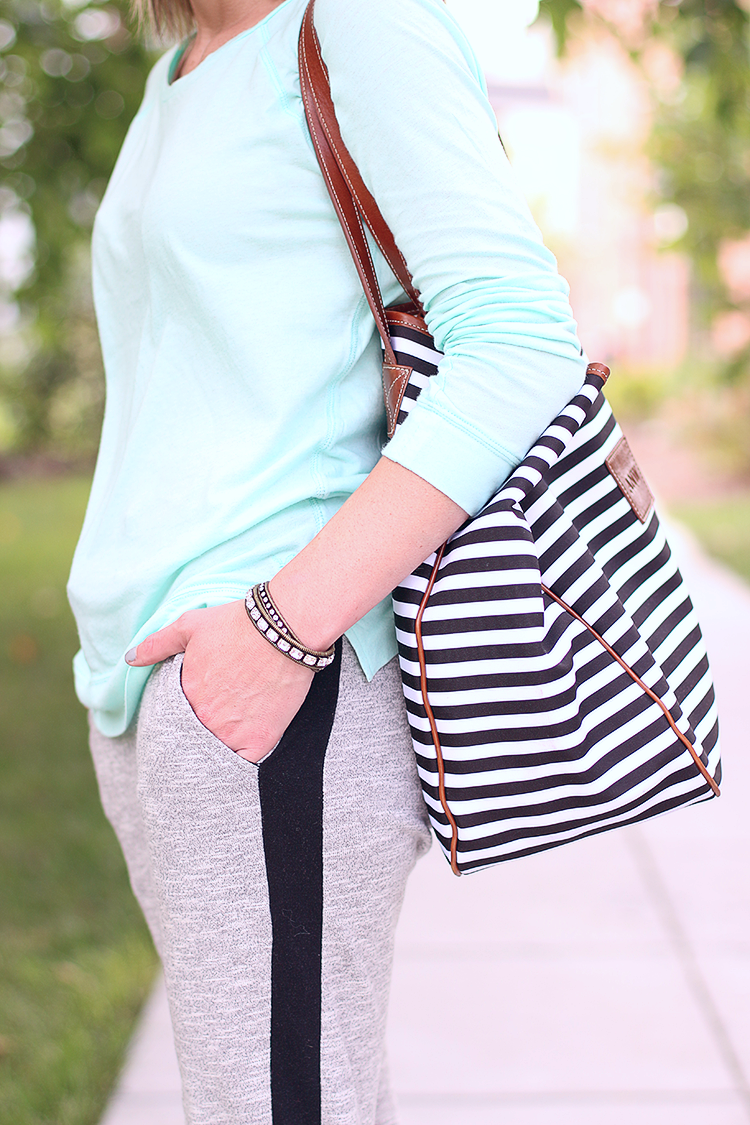 Weekend Casual, Black & White Striped Tote