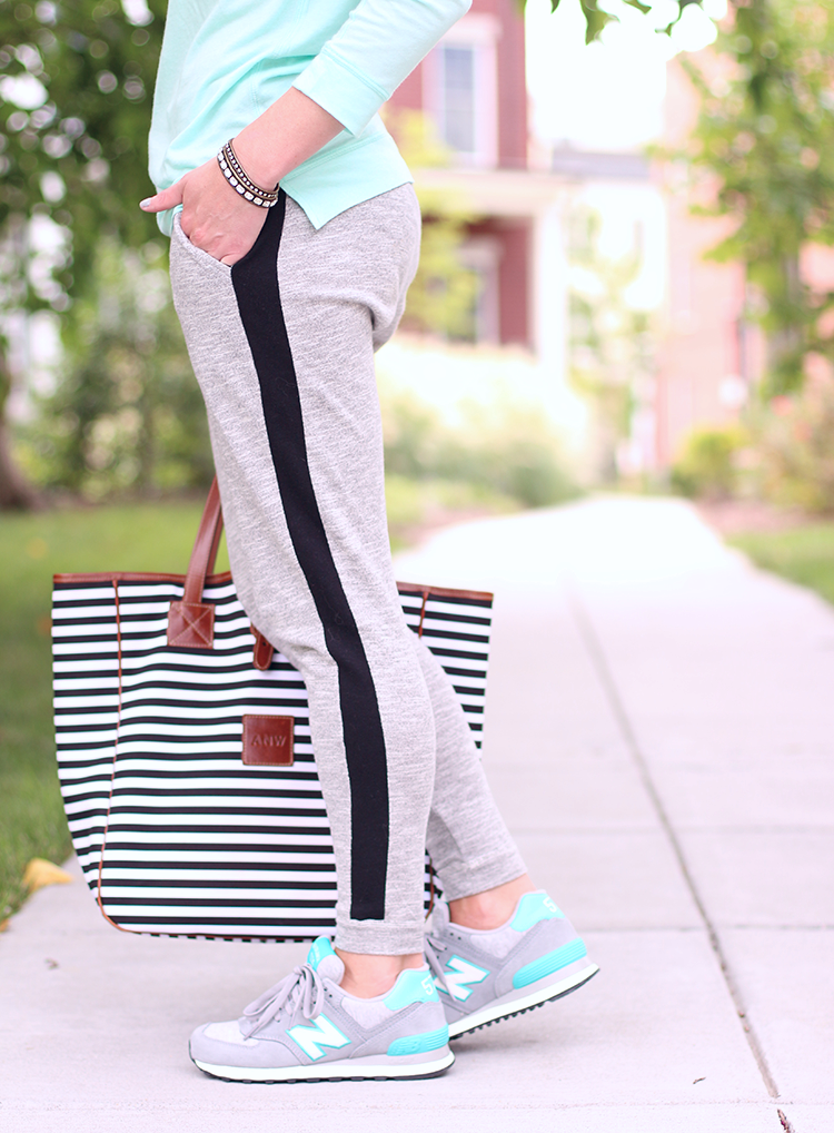 Weekend Casual, Grey & Teal, Relaxed Fit Sweat Pants