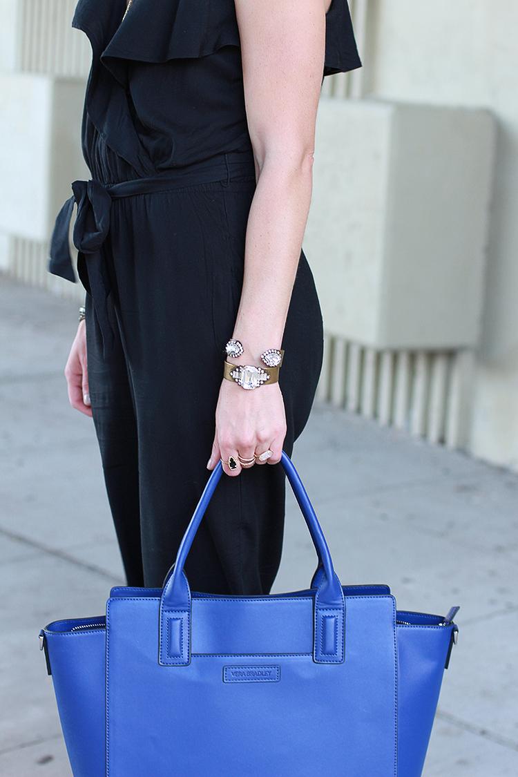 Cobalt Blue Bag, Black Jumper, Fall Fashion, Black & Blue Outfit
