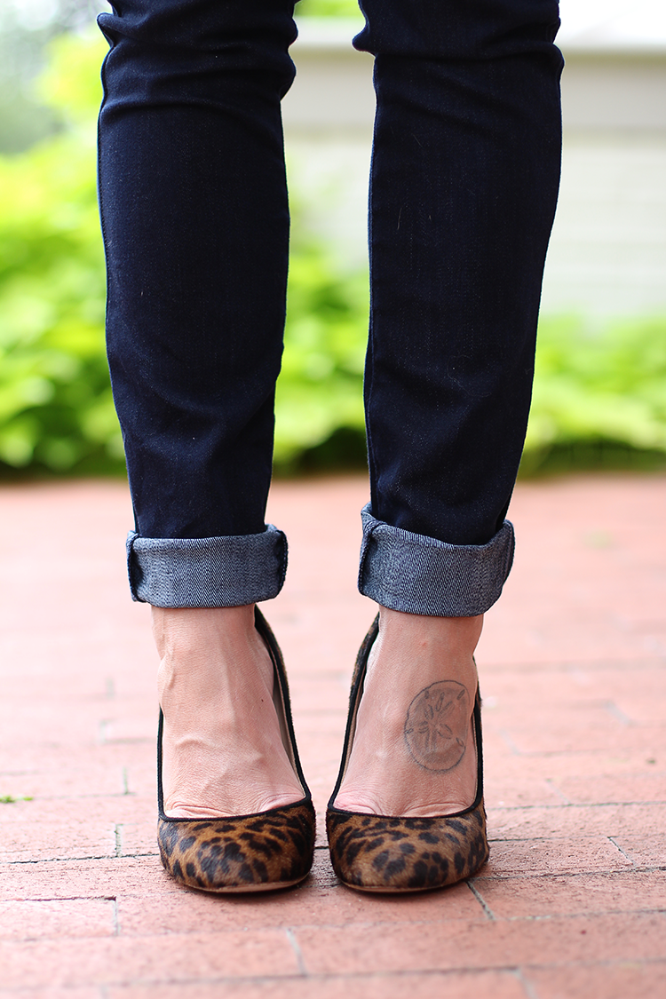 Leopard Heels, Dark Wash Denim, Fall Outfit Idea