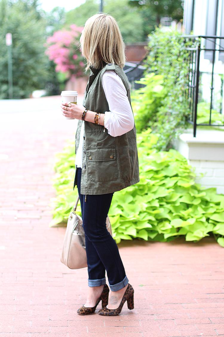 Utility Vest, Leopard Heels, Cream Blouse