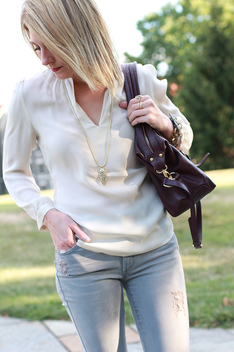 Grey Denim, Neutral Blouse, Fall Outfit Idea