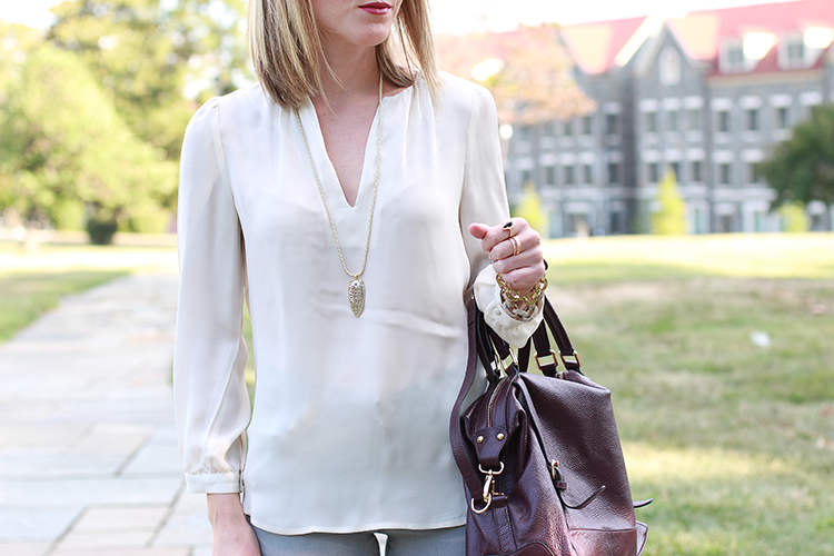 Neutral Blouse, Leather Bag, Bold Lip