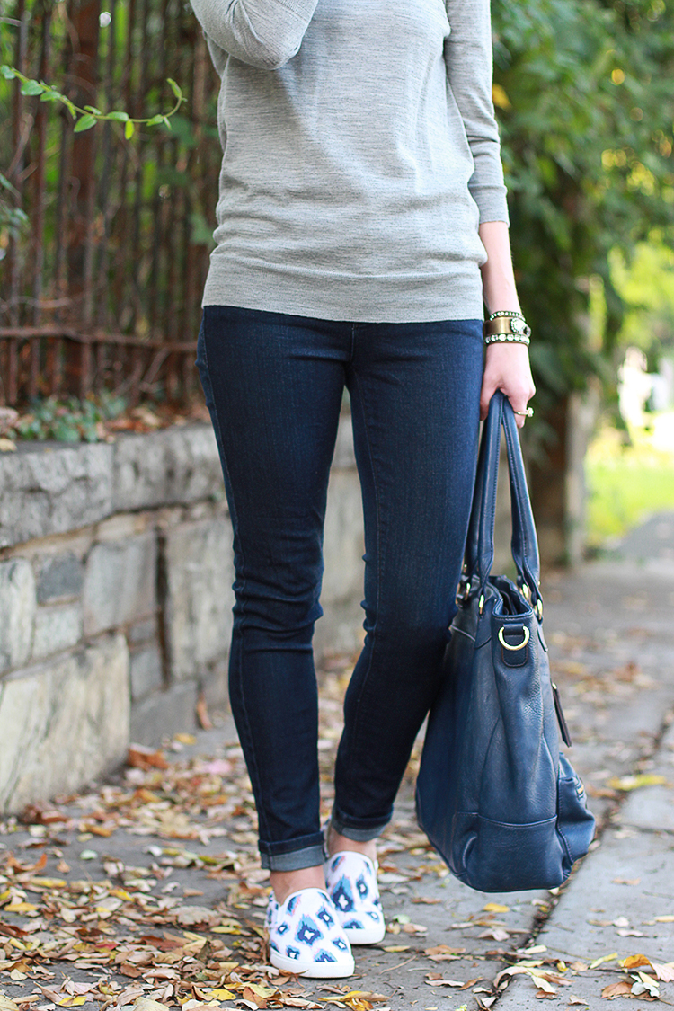 JCrew Tippi Sweater, Dark Wash Denim, Sole Society Bag