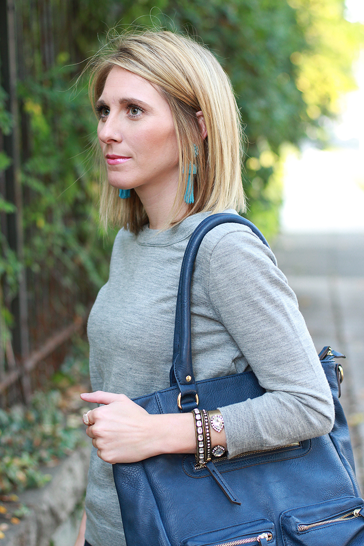 Grey Sweater, Navy Bag, Denim, Fall Outfit Idea