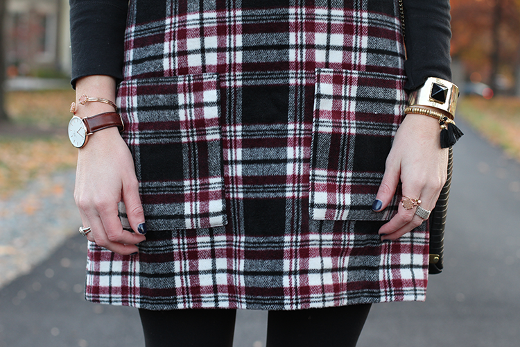 Plaid Dress, Fall Fashion, Rose Gold Watch, Rose Gold Jewelry