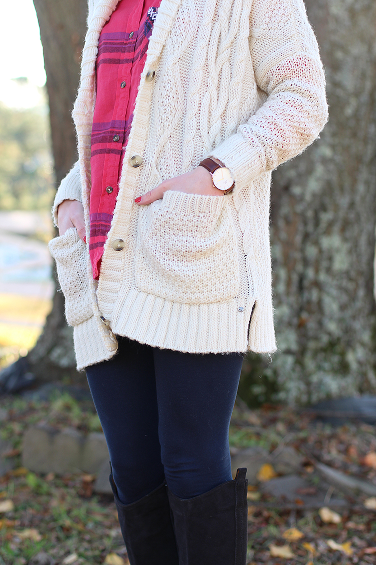 Flannel-Top,-Chunky-Knit-Sweater,-Over-The-Knee-Boots,-Navy-leggings.jpg