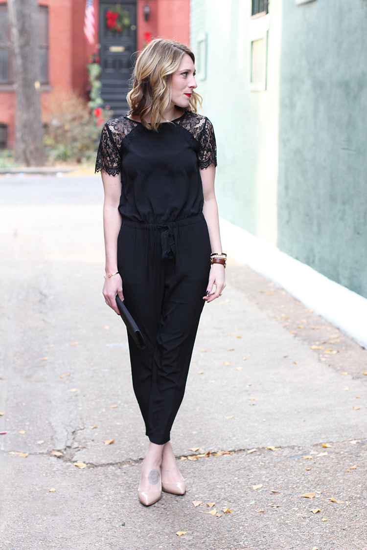 What To Wear To A Holiday Party, Loft Black Jumpsuit, Black Lace