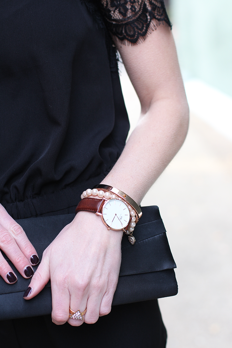 Black Jumpsuit, Gold Accessories, Holiday Party Outfit Idea