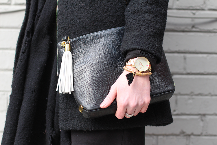 Classy Leather Bag with Gold Details
