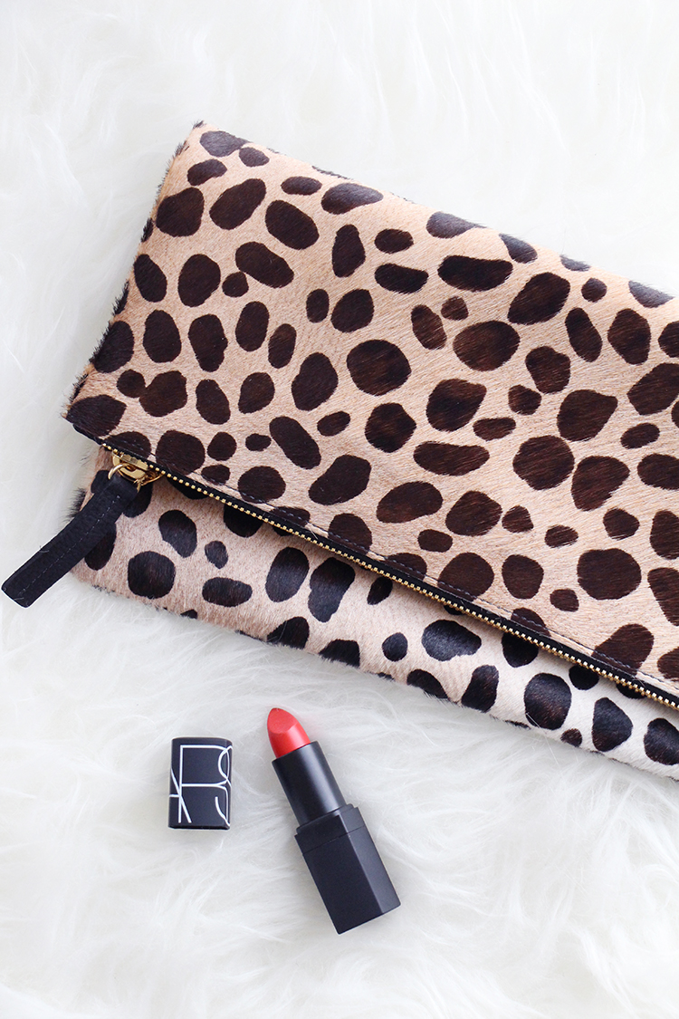 Leopard Clutch, Red Lipstick