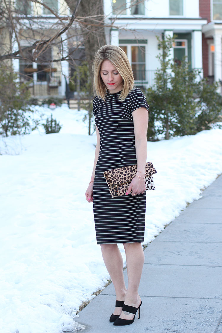 Striped Midi Dress, Red & Leopard