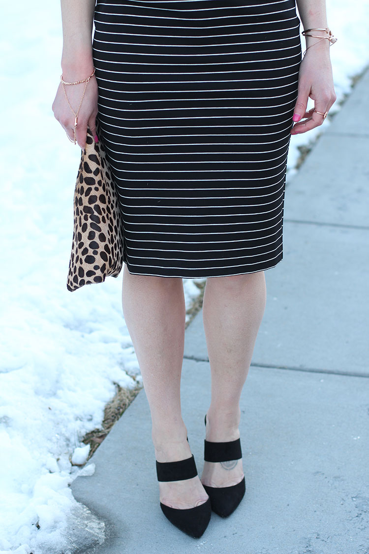 Black Mules, Leopard Clutch, Striped Dress