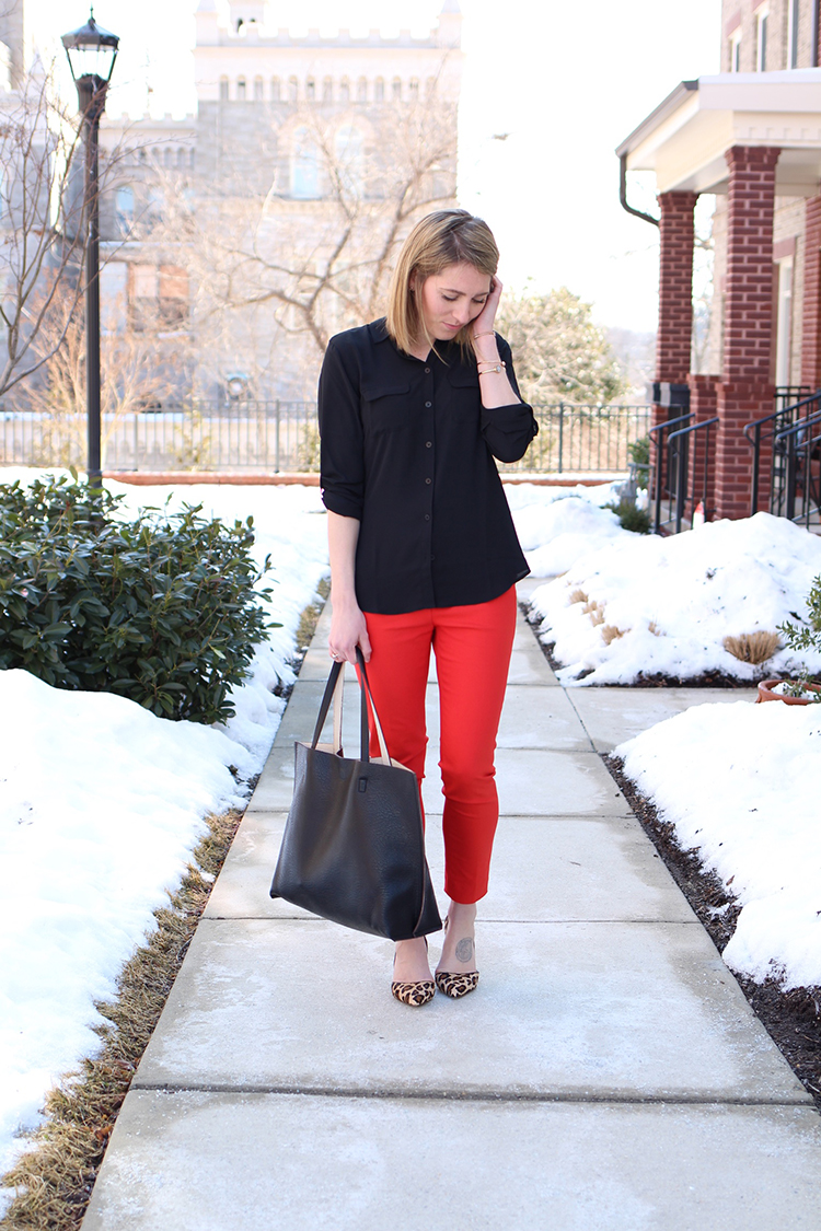 Black Blouse, Red Pants, Leopard Heels