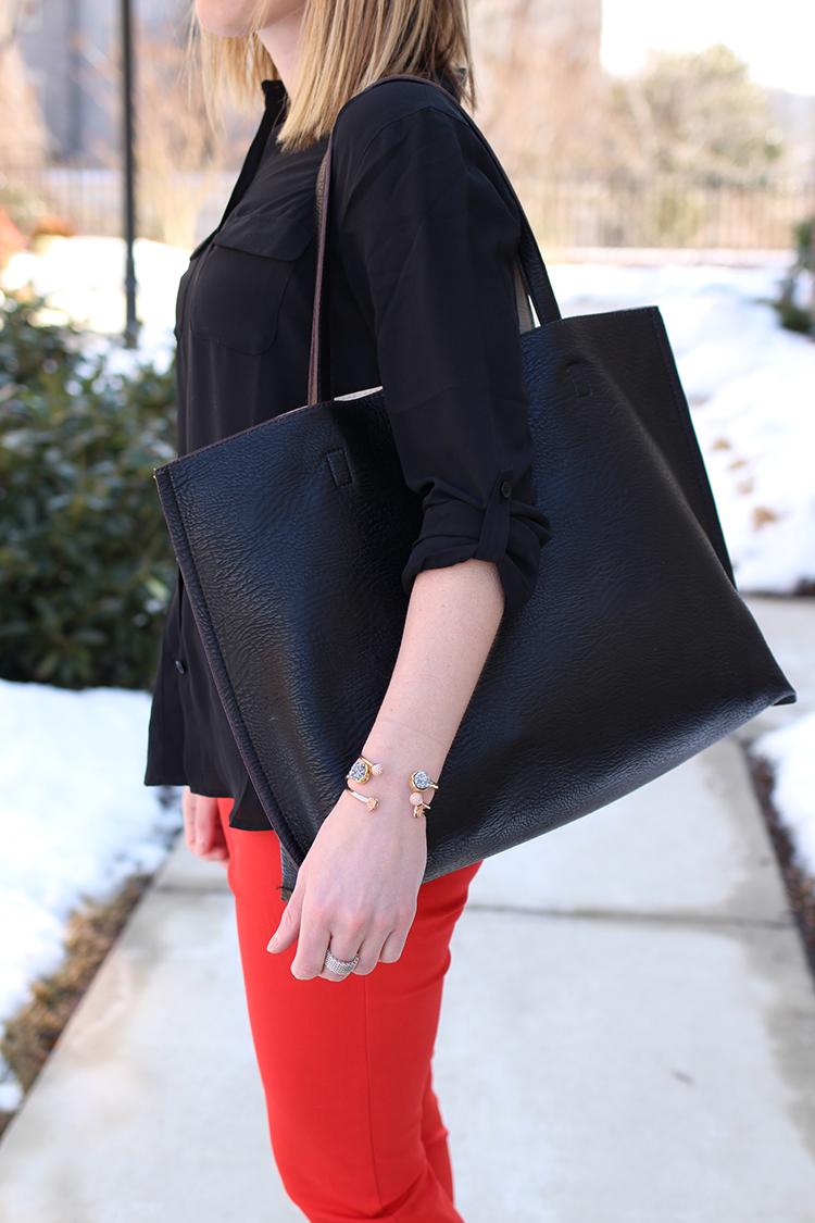 Red Work Pants, Black Oversized Work Bag
