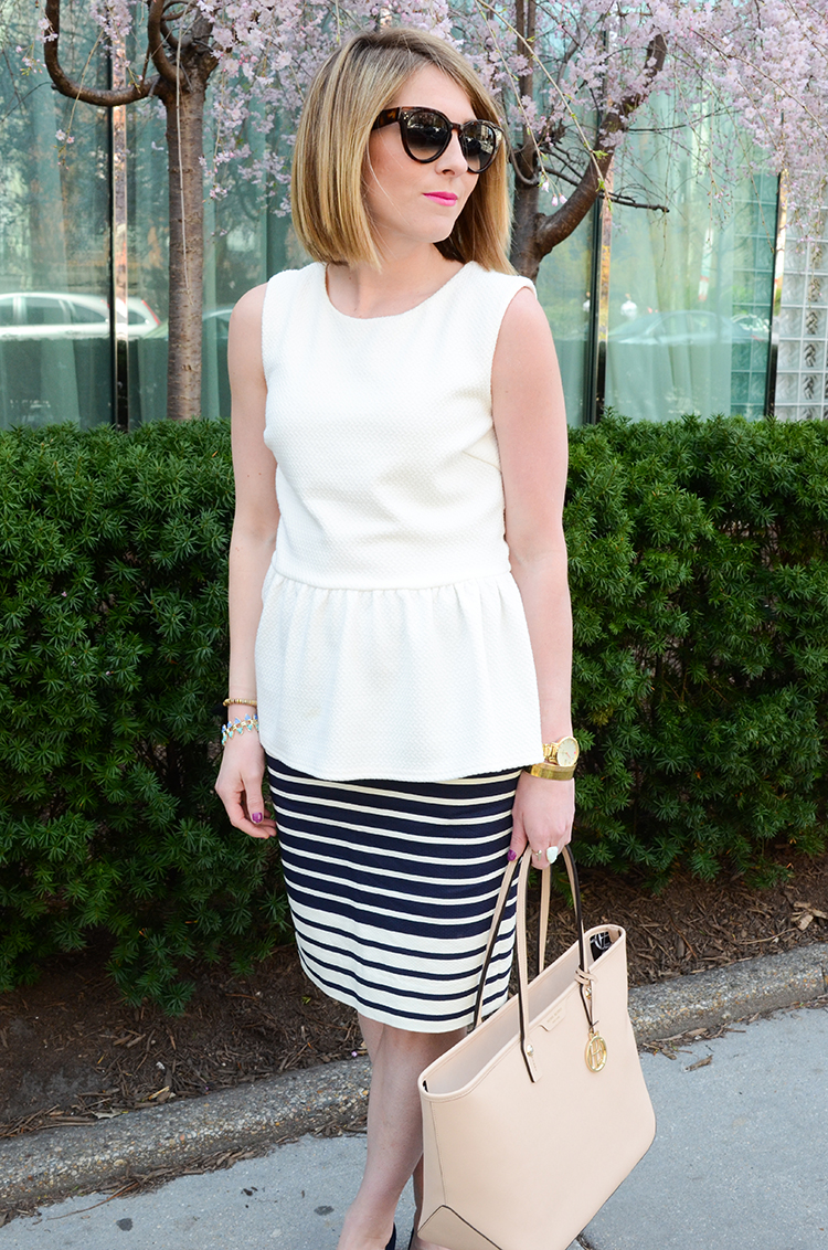 Striped Pencil Skirt, Navy and White Outfit