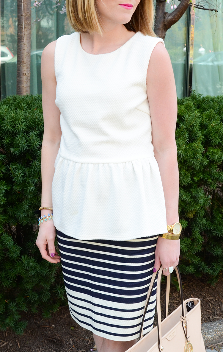 Striped Pencil Skirt, Spring Work Outfit Idea