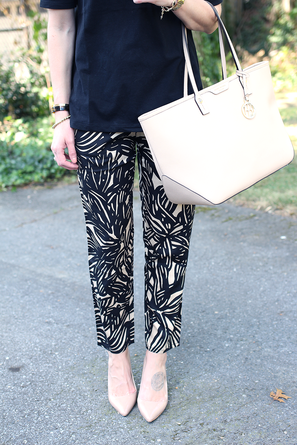 Patterned Pants from Gap, Black and Beige Outfit Idea, Nude Heels