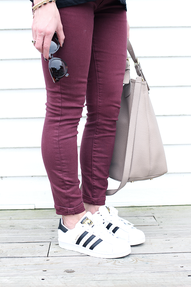 Easy Weekend Outfit for Fall, Plum Colored Denim, Adidas SuperStar