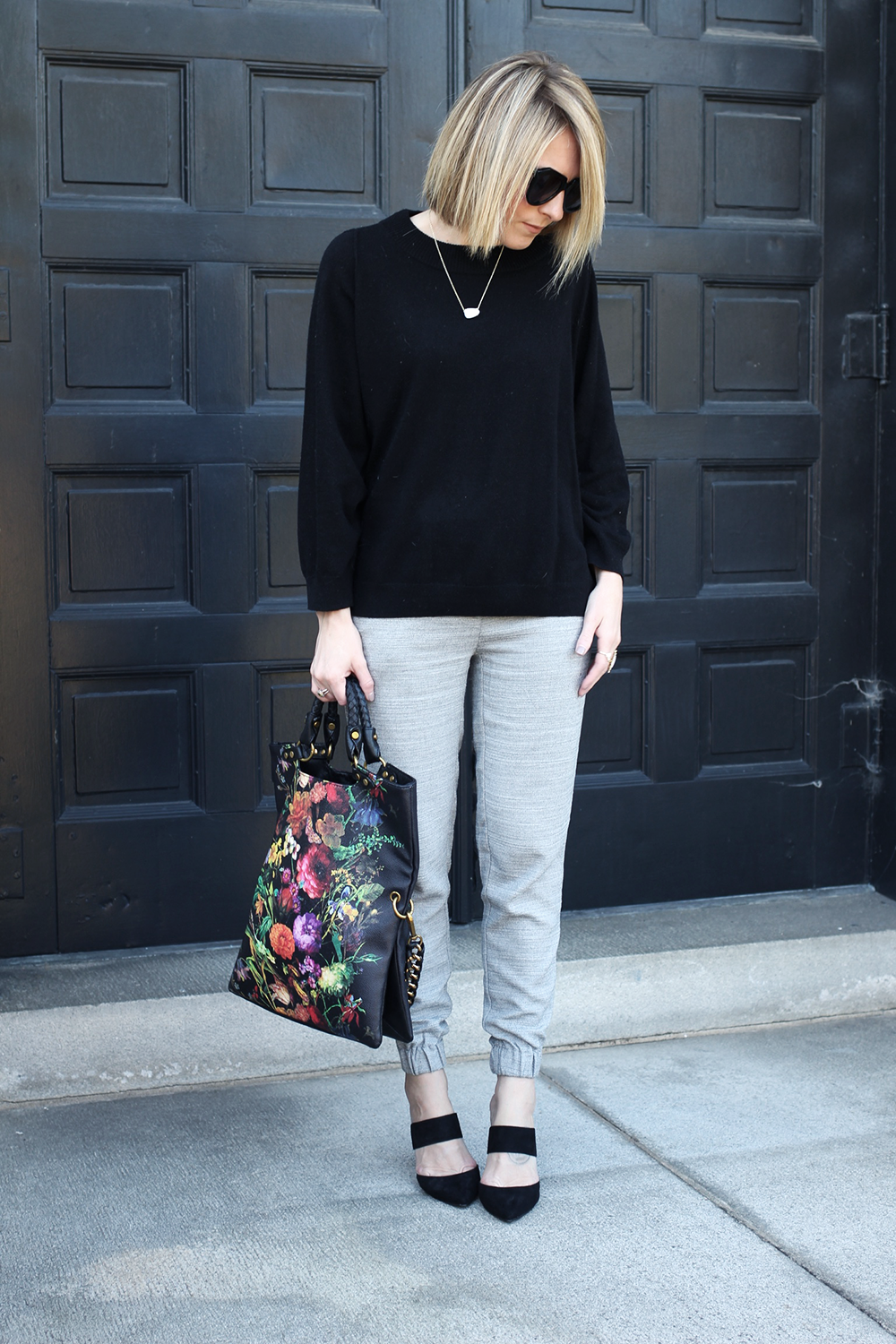 Easy Work Outfit for Fall, Dressy Jogger Pants, Oversized Fall Sweater