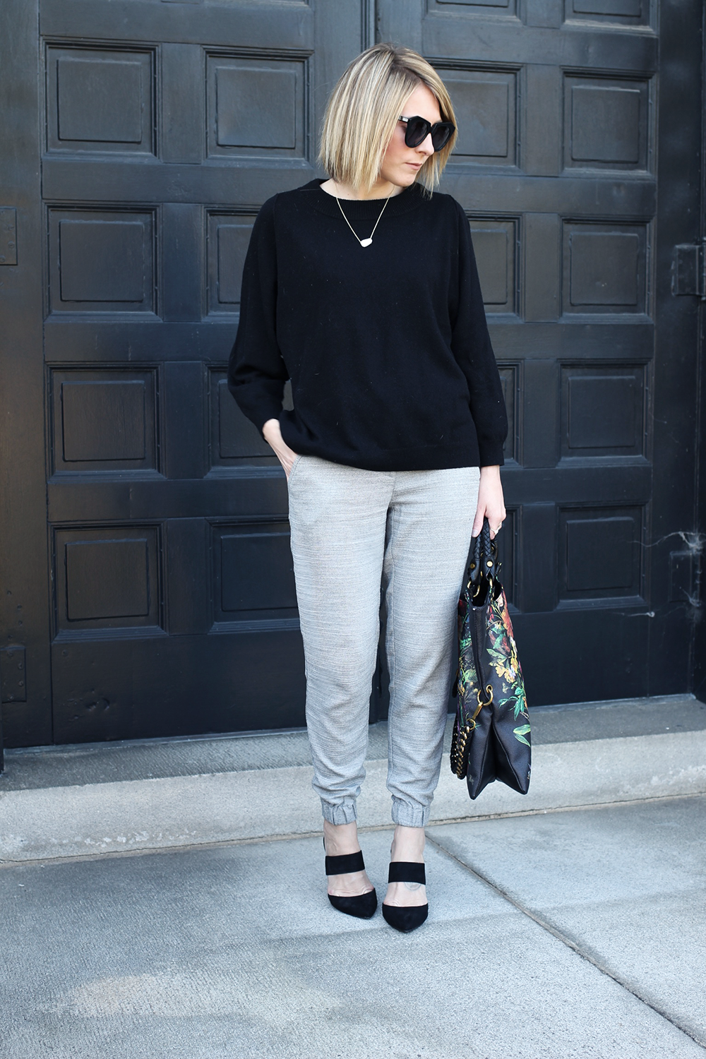 Black Oversized Sweater, Grey Jogger Pants, Karen Walker Sunglasses