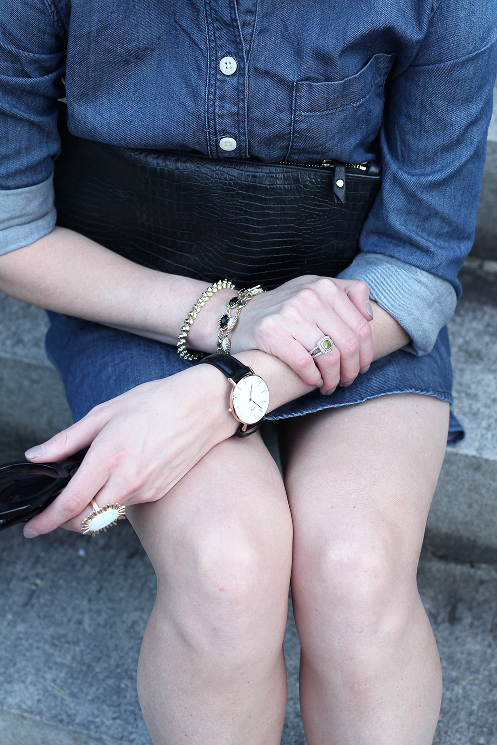 Black and Rose Gold Watch, Kendra Scott Jewelry, Denim Dress