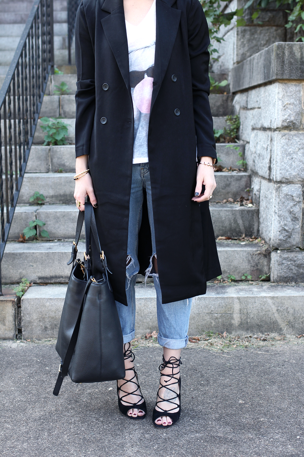 Black Long Coat, Topshop Ripped Denim, Black Minimalistic Outfit Idea