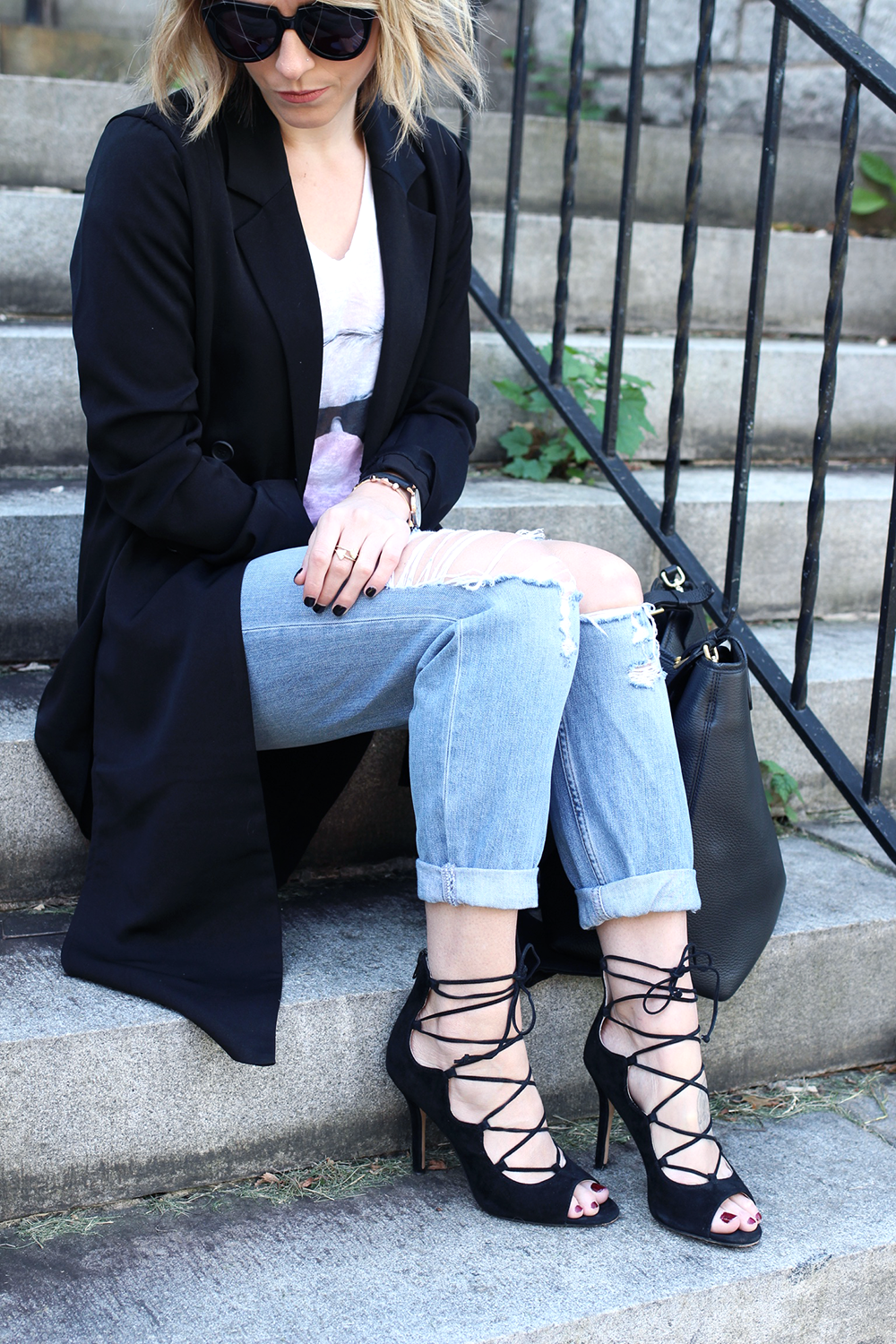 Affordable Ripped Denim, Black Trench Coat, Black LaceUp Heels
