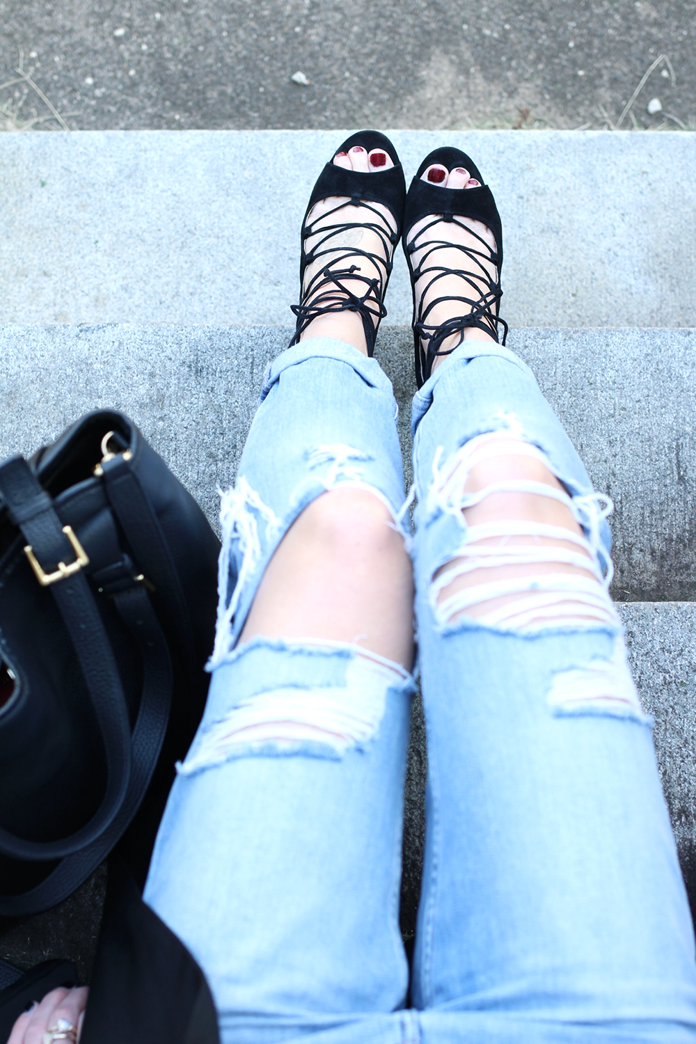 Black Heels, Ripped Denim, Black Leather Bag