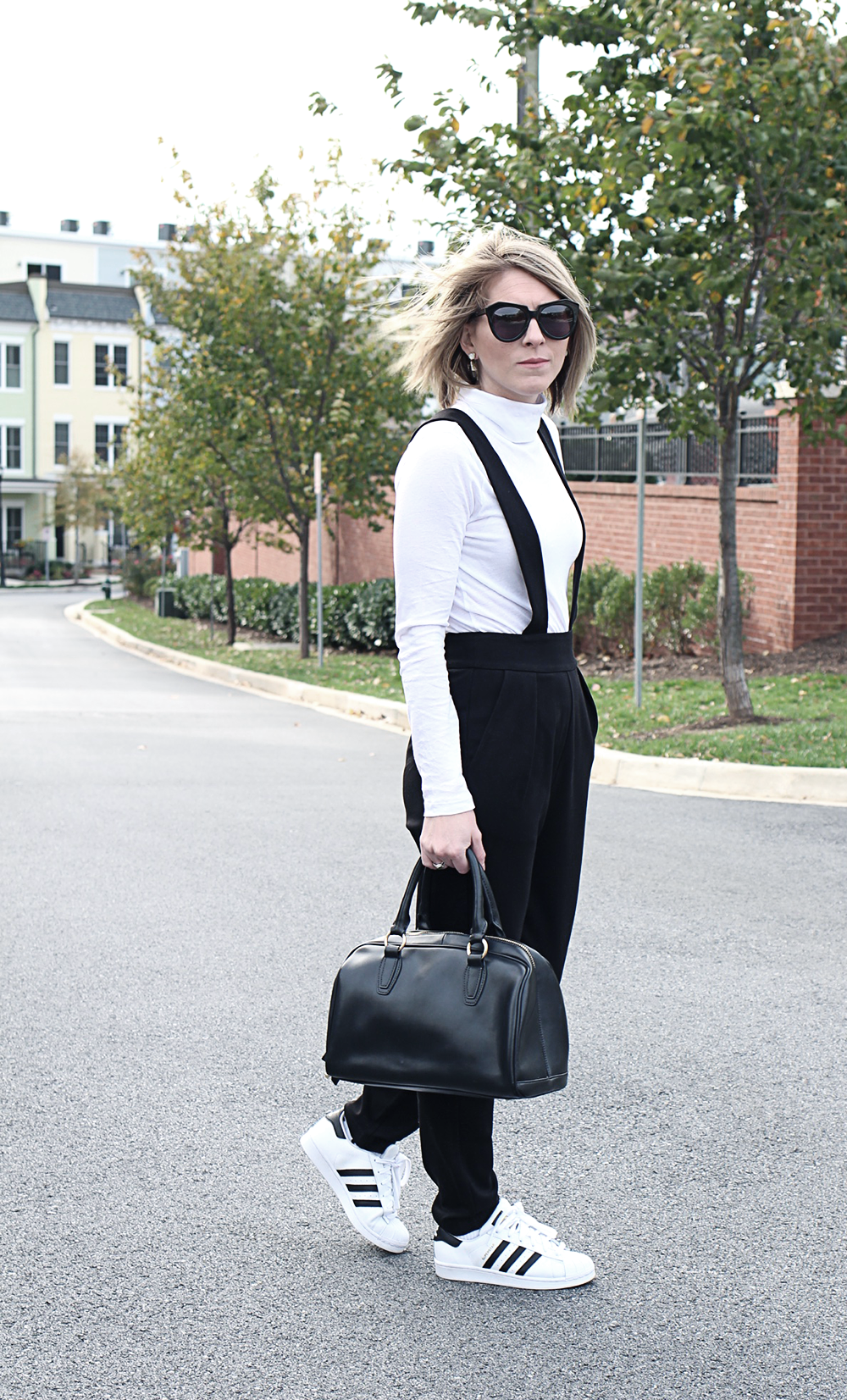 Relaxed Weekend Outfit Idea, French Connection Trousers, Black and White