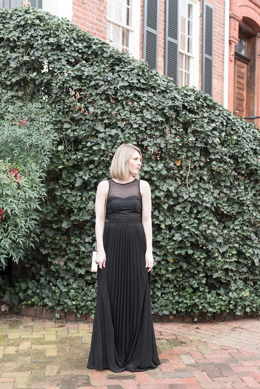 Long Black Holiday Dress, Christmas Party Idea