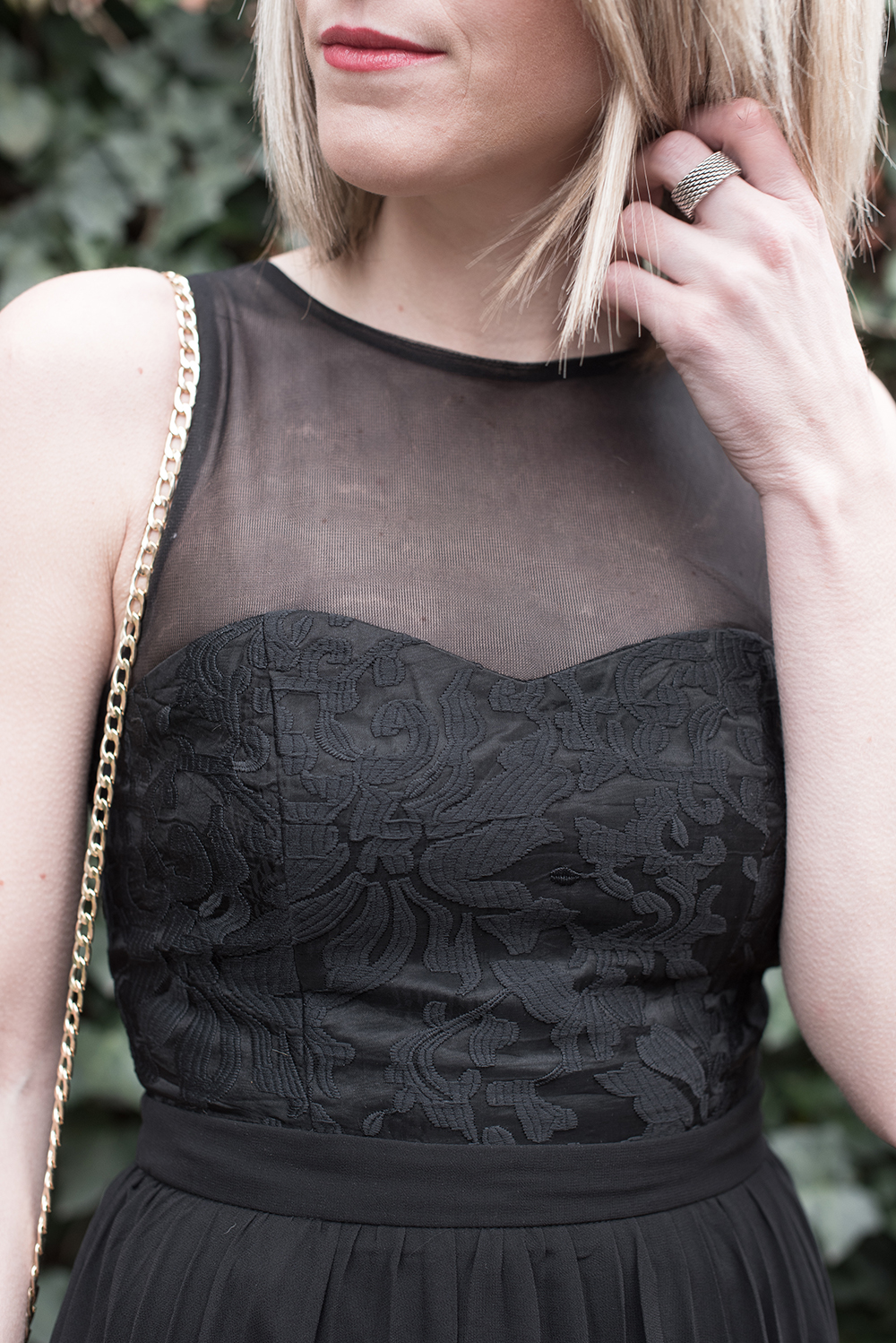 Embroidered Details, Black Maxi