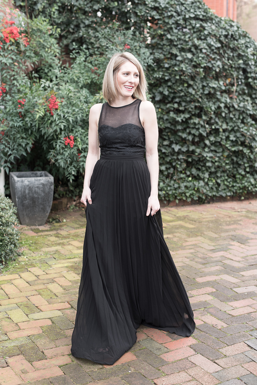 Black Maxi Dress, Strappy Black Heels