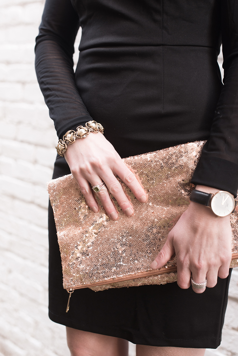 LBD and Sequin Clutch, Black and Rose Gold