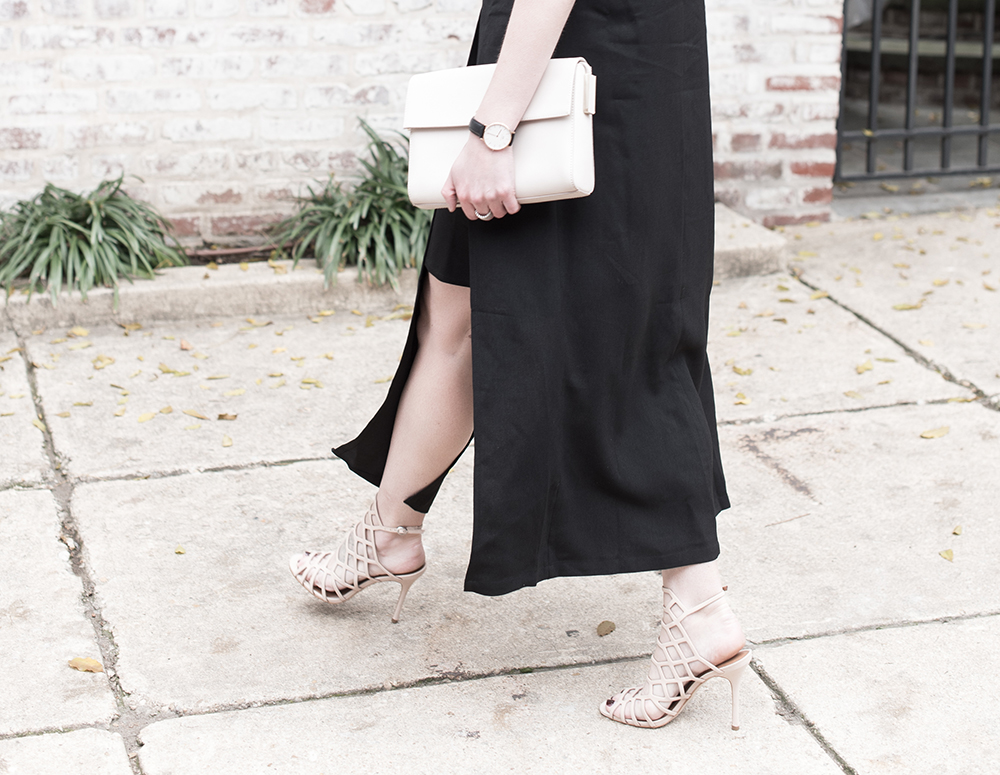 Nude Heels, Nude Clutch, Calvein Klein Bag, Black Dress