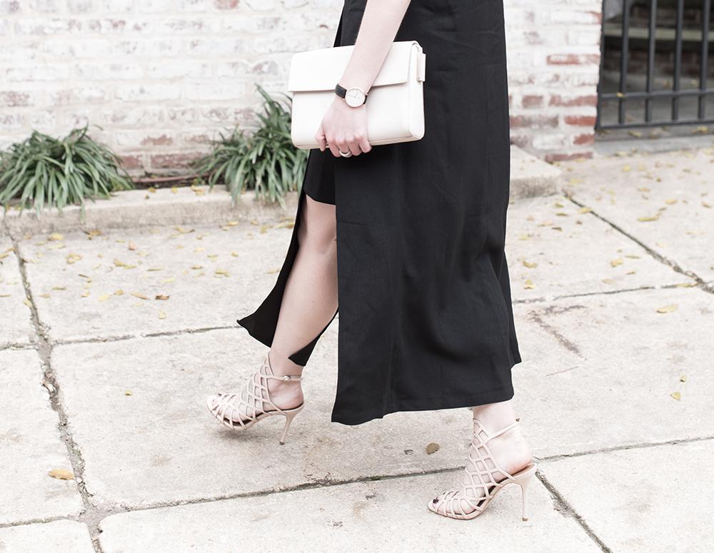 Nude Heels, Nude Clutch, Calvein Klein Bag, Black Dress