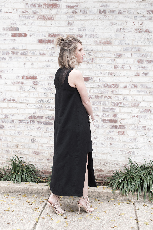 Black Dress, Cage Heels, Nude Calvin Klein Bag