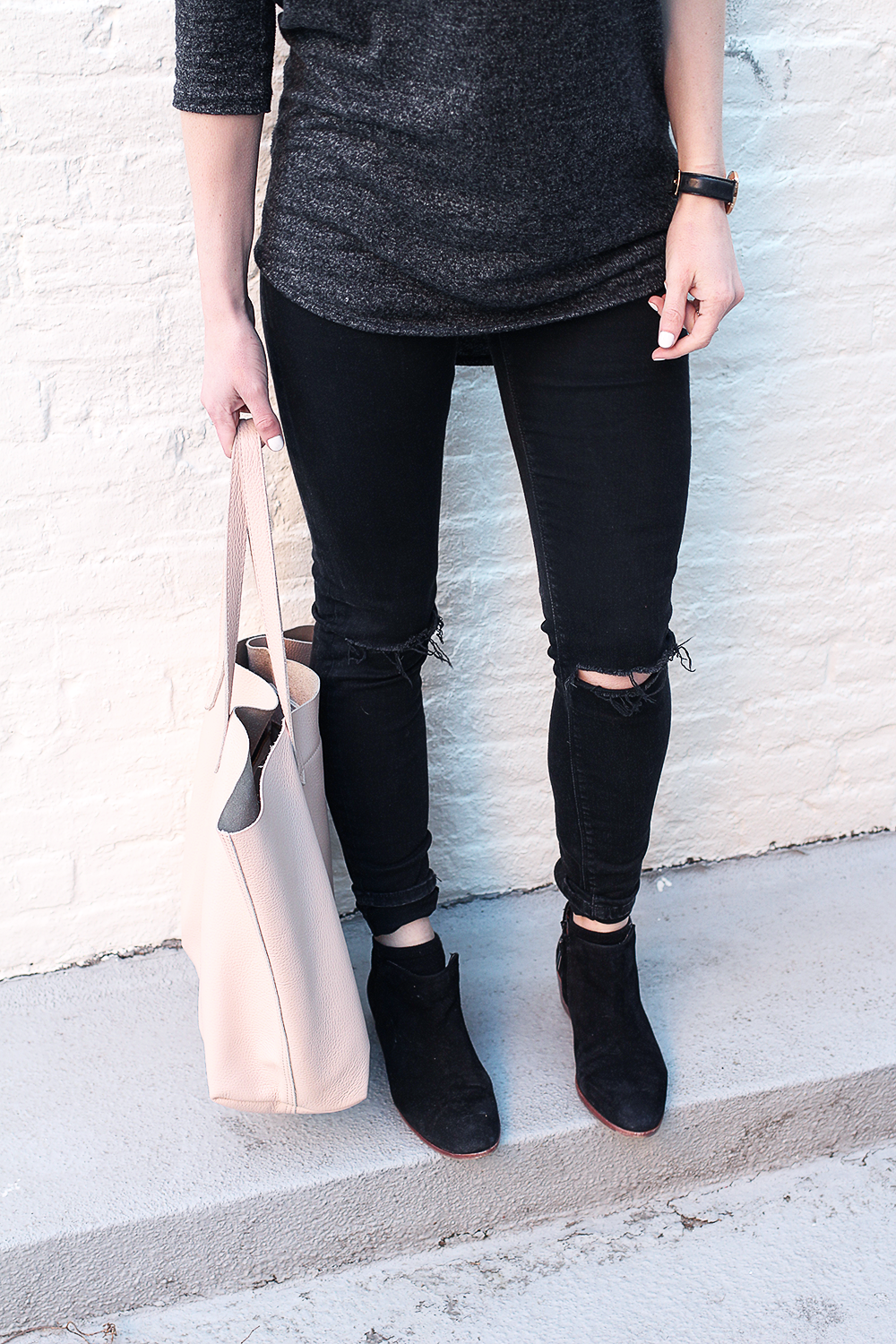 Ripped Denim, Black Booties, Blush Calvin Klein Bralette.png