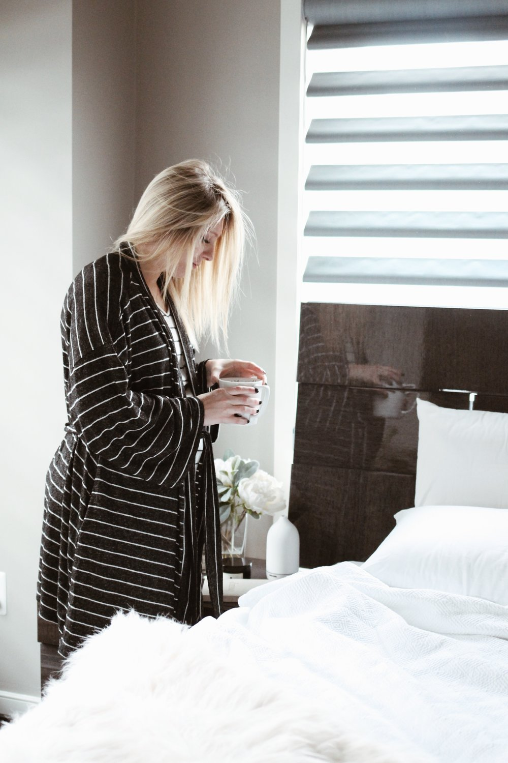 Maternity Robe, Striped Maternity Robe