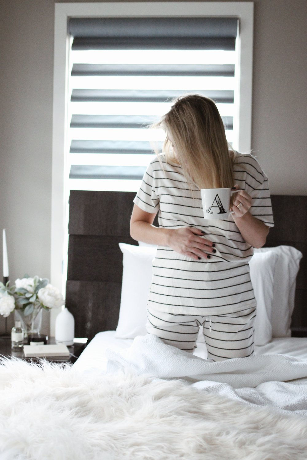 Striped Maternity Pajamas, Pink Blush Maternity