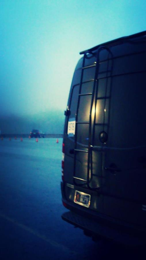 Our van in the haze of a Mt. Hood morning.