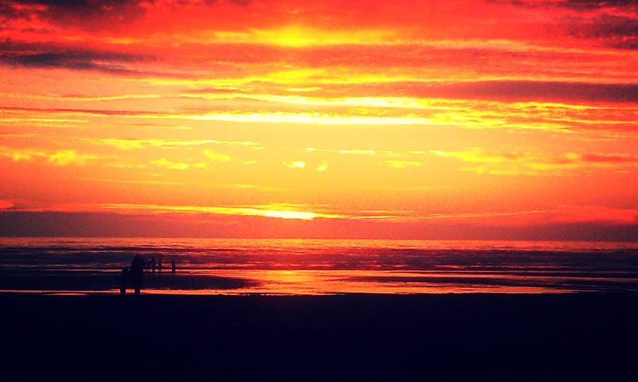 sunset in seaside oregon