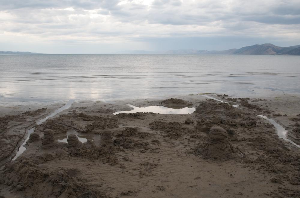 Sand Castle Eroded by Waves, Bear Lake, Utah, 2008
