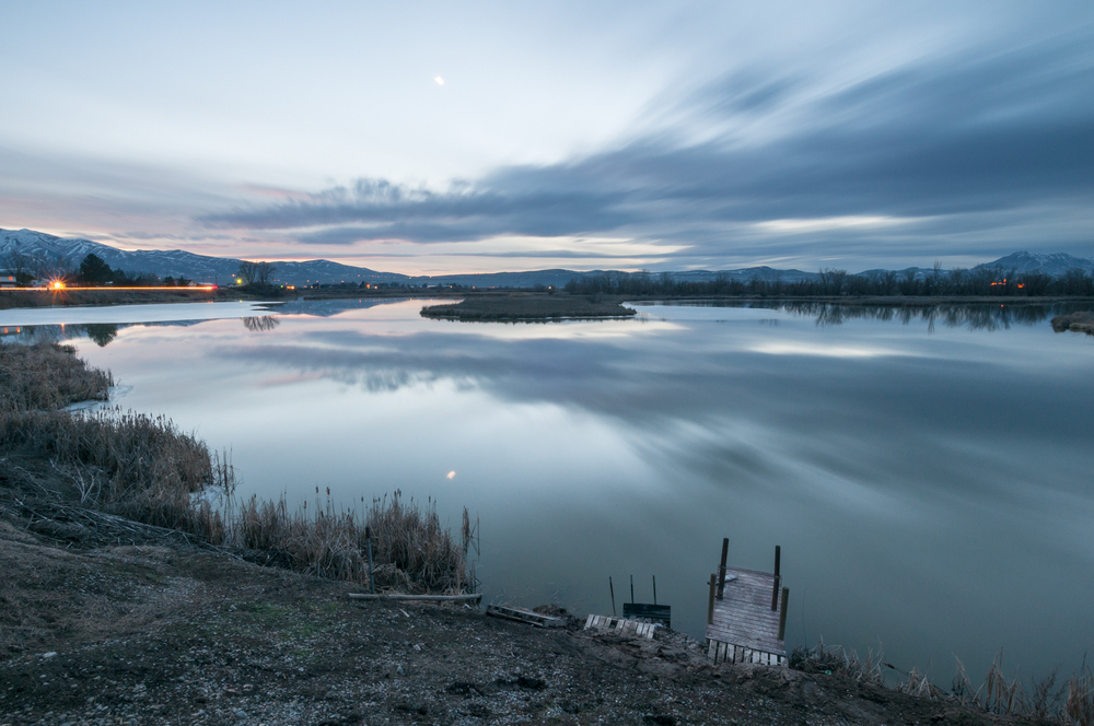 Setting Crescent Moon, Marsh, Benson, Utah, 2016